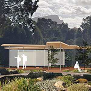 A place to gather, to pause or to simply pass through; this shelter and amenities pavilion captures these changing occupations as an intersection of paths.