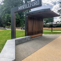 Ties together existing and new elements within Myrtleford's Jubilee Park creating axis and intersections that drive the geometry of new structures.